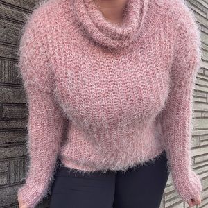 Fuzzy Cowl Neck Style Sweater Top Y2K